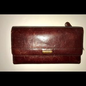 Vintage FOSSIL Leather Organizer Clutch Wallet
